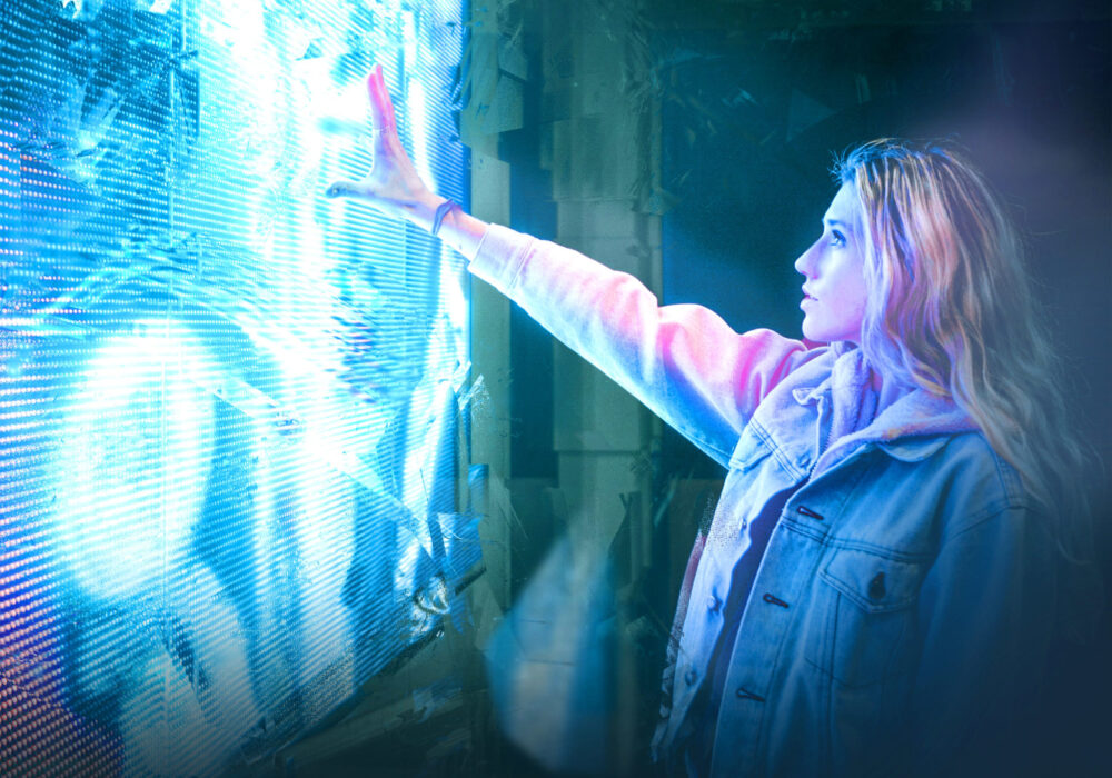 Girl with LED screen